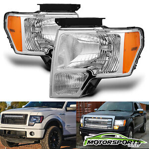 Anti Fog 2009 2014 Ford F 150 Pickup Chrome Factory Style Headlights Lamps