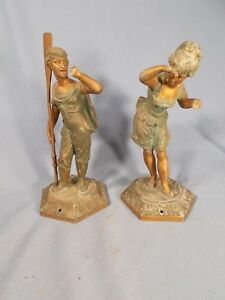 Antique Sailor W Oar Girl Ansonia American Crystal Palace Clock Statues C1880s
