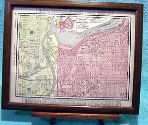 Antique Framed Map Of Kansas City In Mo And Ks Printed In 1895