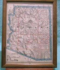 Antique Framed Map Of Arizona Printed In 1893 Showing Military Reservations