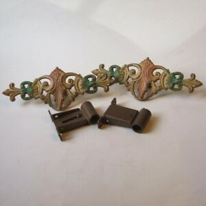 2 Vintage Cast Iron Swing Arm Curtain Rod Center Medallions With Brackets