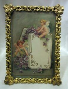 Small Antique Picture Frame Brass With Floral Decoration 4 3 4 X 6 1 2