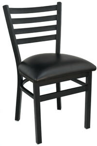 Lot Of 4 New Gladiator Ladder Back Restaurant Chair With Black Vinyl Seat