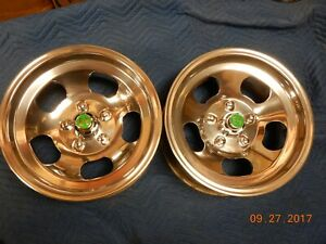 Polished 15x7 5 Slot Mag Wheels Ford Dodge Mags Mopar Chevelle Camaro Gm Truck