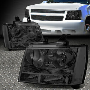 For 07 14 Chevy Tahoe Suburban Smoked Housing Clear Corner Headlight Head Lamps