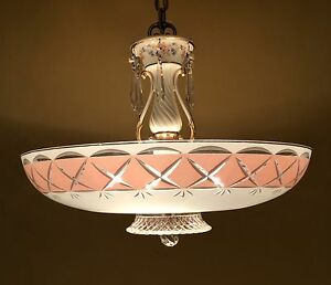 Vintage Lighting Breathtaking 1950 Crystal Chandelier By Porcelier