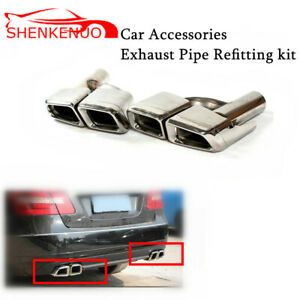 25cm Wide Exhaust Tips Muffler Factory Silver For Mercedes Benz W205 W218
