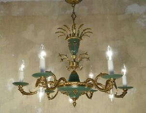 Empire French Chandelier Brass Old Vintage Ceiling Lightings 9 Light 2 Tiers
