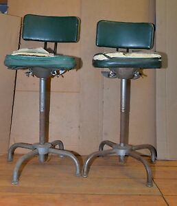 2 Adjustable Lab Drafting Chairs Vintage Industrial Steam Punk Stools With Backs