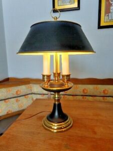 Vintage Mid Century Modern 3 Light Candle Stick Brass Table Lamp 32 Tall