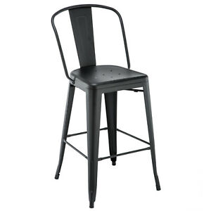 New Oversized Viktor Steel Restaurant Bar Stool With Black Powder Coat Finish