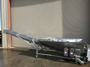 Cozzini 8 Dia X 20 Long Stainless Auger Screw Incline Conveyor With Twin Scre