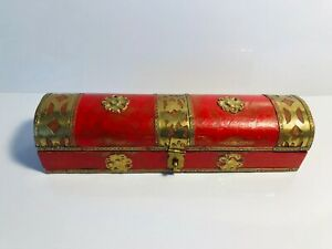 Small Wooden Hinged Box Nice Red Color With Decorative Brass Accents