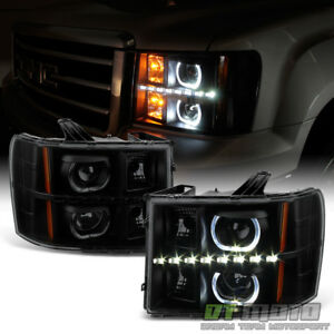 Blk Smoke 2007 2013 Gmc Sierra 1500 2500 Led Halo Projector Headlights Headlamps