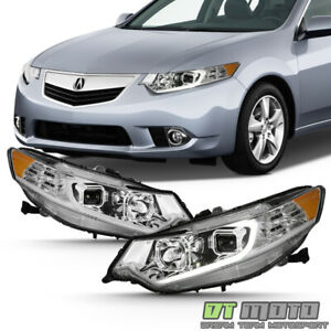 Hid Type Chrome 2009 2014 Acura Tsx Led Drl Projector Headlights Headlamps Set