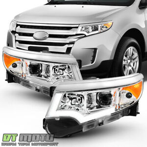 Chrome 2011 2014 Ford Ford Edge Halogen Led Drl Projector Headlights Headlamps