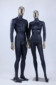 Female Male Full Body Mannequins W Removable Gold Head Hands 1 Black Couple
