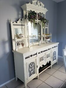 Antique Open China Cabinet Hutch Buffet