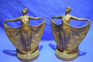 Antique Art Deco Dancing Lady Bronze Statue Sculpture Bookends