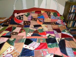 Vintage Victorian Silk Crazy Coverlet Beautiful Fabrics Great Shape