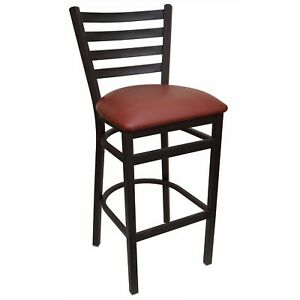 New Gladiator Ladder Back Restaurant Bar Stool With Wine Vinyl Seat