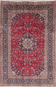 Ruby Red 6x10 Traditional Floral Kashmar Persian Area Rug Room Size Hand Knotted
