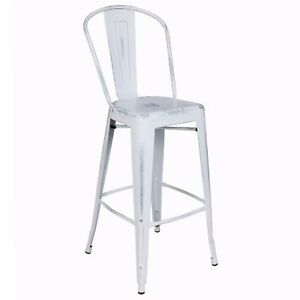 New Viktor Steel Restaurant Bar Stool With Distressed White Finish