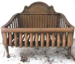 Antique Decorative Cast Iron Fireplace Box Grate Coal Wood Insert 20 By 12