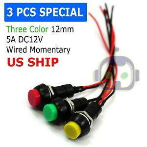 12mm 12v 5amp Mount Push Button Lockless Momentary On off Wired Cabled Switch