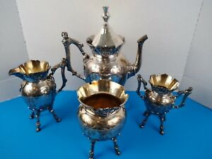 Antique 1830 1840 S Wilcox Intl Silver Co Silver Plated 4 Piece Coffee Tea Set