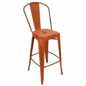 New Viktor Steel Restaurant Bar Stool With Distressed Orange Finish