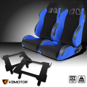 Fit 99 04 Ford Mustang Blue Cloth Pvc Leather Racing Seats Laser Welded Brackets