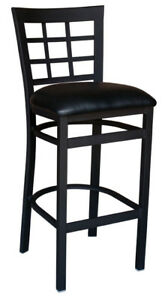New Value Line Gladiator Window Pane Restaurant Bar Stool With Black Vinyl Seat