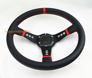 Black Pvc Drifting Red Stitch Jdm 2 5 Deep Dish Leather Racing Steering Wheel