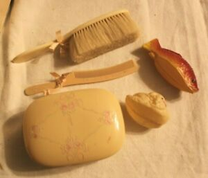 Vintage Baby Brush Comb Soap Box Set With 2 Small Toys Krueger France