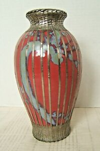 Japanese Porcelain Silver Wire Vase Exc Colors Silver Work