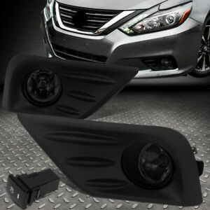 For 16 18 Nissan Altima Smoked Lens Front Bumper Fog Light Lamps W Bezel Switch
