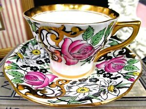 Rosina Tea Cup And Saucer Painted Pink Rose Gold Gilt Floral Teacup Gold Bands