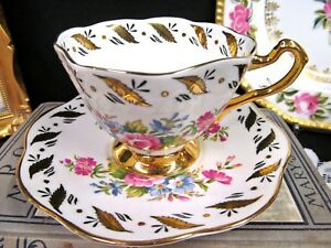 Rosina Tea Cup And Saucer Floral Pink Rose Gold Gilt Pattern Teacup Flared
