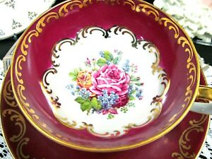Bavaria Germany Tea Cup And Saucer Red Gold Gilt Red Base Teacup Wide Mouth