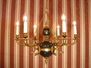 Vintage 6 Light Brass French Empire Chandelier Ceiling Lamp Fixtures Old Used
