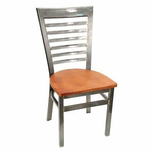 New Gladiator Clear Coat Full Ladder Back Metal Restaurant Chair W Cherry Seat