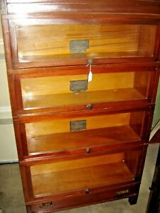 Antique Mahogany Globe Wernicke 4 Stack Bookcase Art Mission Bookcase 446