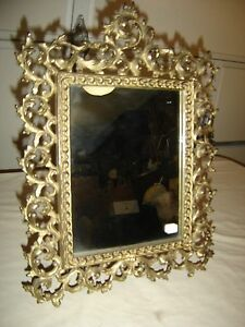 Antique Ornate Brass Plated Pierced Mirror With Easel Stand Ornate Rococo 9588