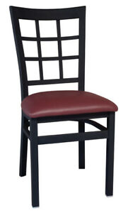 New Gladiator Window Pane Metal Restaurant Chair With Wine Vinyl Seat