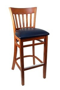 New Gladiator Cherry Wooden Vertical Back Restaurant Bar Stool W Black Seat