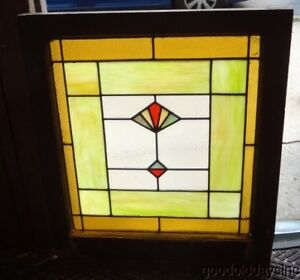 Antique Art Deco 1930 S Stained Leaded Privacy Glass Window