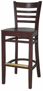 New Gladiator Wooden Mahogany Ladder Back Restaurant Bar Stool Mahogany Seat