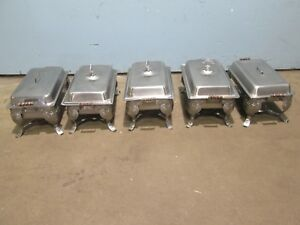 vollrath Lot Of 5 Assorted Ornate Stainless Steel Full Size Chafing Dishes