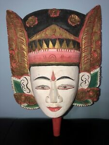 Oriental Chinese Wood Hand Carved Painted Wall Hanging Face Mask Decor W Handle